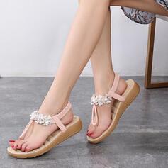 Femmes PU Talon plat Sandales Tongs avec Autres chaussures