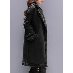 Polyester Long Sleeves Plain Shearling Coats
