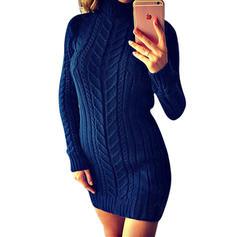 Striped Cable-knit Chunky knit Turtleneck Sweater Dress