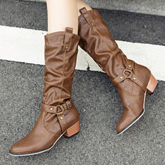 Women's PU Chunky Heel Knee High Boots Riding Boots With Buckle Ruched shoes