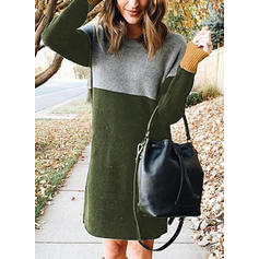 Color Block/Cable-knit Long Sleeves Shift Knee Length Casual/Long Dresses
