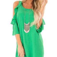 Solid 3/4 Sleeves/Cold Shoulder Sleeve Shift Above Knee Little Black/Casual Dresses