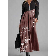 Animal Print Long Sleeves A-line Skater Casual Maxi Dresses