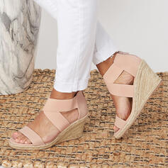 Women's PU Wedge Heel Sandals Platform Peep Toe With Solid Color shoes
