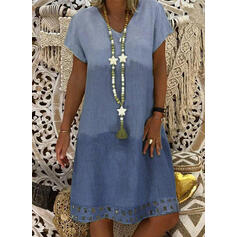 Color Block Short Sleeves Shift Knee Length Casual/Vacation Tunic Dresses
