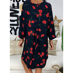 Print/Floral Long Sleeves Shift Knee Length Casual/Vacation Dresses