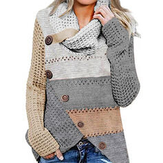 Color Block Cowl Neck Casual Sweaters