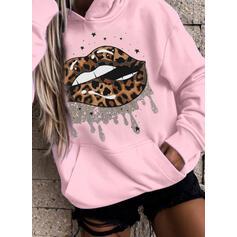 Print Leopard Pockets Long Sleeves Hoodie