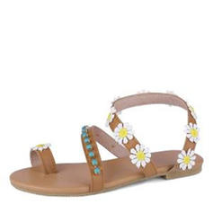 Women's Leatherette Flat Heel Sandals With Beading Flower shoes