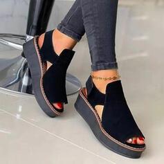 Női Szarvasbőr Ékelt sarkú Szandál -Val Hálós ruha tépőzáras Szolid szín cipő