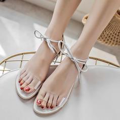 Femmes Vrai cuir Talon plat Sandales Chaussures plates À bout ouvert Escarpins avec Dentelle chaussures