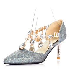 Femmes Similicuir Talon stiletto Escarpins Bout fermé avec Strass chaussures