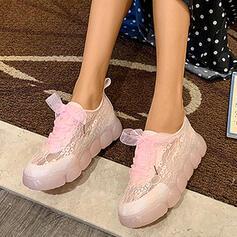 Mulheres Renda PU Casual Outdoor com Faixa Elástica sapatos