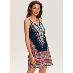 Print Sleeveless Shift Above Knee Casual/Boho/Vacation Slip Dresses