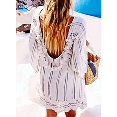 Stripe Round Neck Sexy Cute Cover-ups Swimsuits