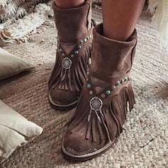 Vrouwen PU Low Heel Laarzen met Gesp Tassel schoenen