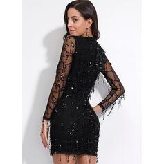 Sequins Long Sleeves Bodycon Above Knee Little Black/Party/Elegant Dresses