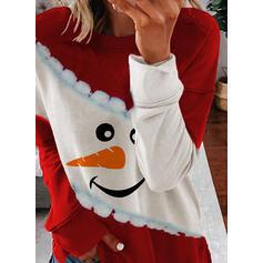 Nyomtatás Színblokk Kerek nyak Hosszú ujjú Karácsonyi pulóver