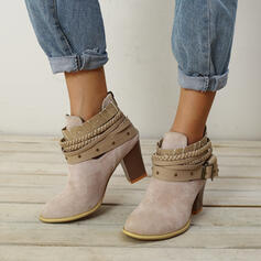 Frauen Veloursleder Stämmiger Absatz Stiefelette mit Zuschnüren Schuhe