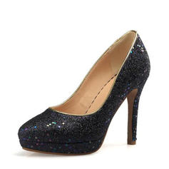 スパークリングキラキラ スティレットヒール ポンプ プラットフォーム とともに スパンコール 靴