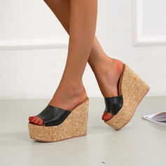 Dla kobiet Mikrofibra Obcas Koturnowy Sandały Koturny Otwarty Nosek Buta Kapcie Obcasy Round Toe Z Jednolity kolor obuwie