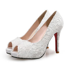 Women's Lace Stiletto Heel Pumps Platform Peep Toe With Stitching Lace shoes