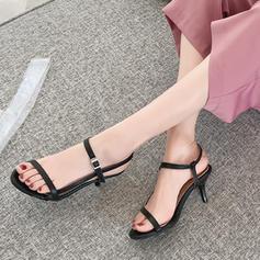 Bayanlar suni deri Topuklu ayakkabı Sandalet Pompalar Peep Toe Arkası açık iskarpin Ile Toka ayakkabı