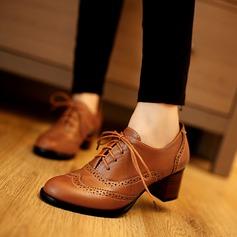 Női Műbőr Chunky sarok Zárt lábujj -Val Lace-up Hálós ruha cipő