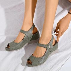 Femmes PU Talon compensé Talon bas Escarpins À bout ouvert Escarpins avec Boucle Ouvertes chaussures