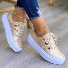 De mujer PU Tacón plano Planos Top bajo Zapatillas con Cordones Botones zapatos