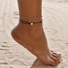 Simple Aleación Cuero cuerda con Corazón Joyas de playa Tobilleras (Juego de 2)