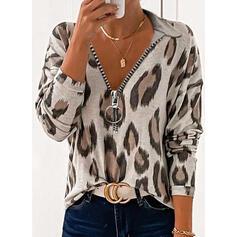 Leopard V-hals Lange ermer Casual Bluser