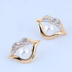 Stylish Alloy Rhinestones Imitation Pearls With Imitation Pearl Rhinestone Women's Fashion Earrings