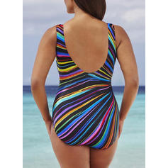 Print Strap Plus Size Eye-catching One-piece Swimsuits