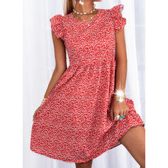 Print Short Sleeves Small Flying Sleeve A-line Skater Casual/Vacation Midi Dresses