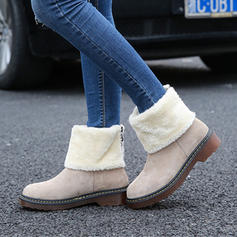 Women's Suede Low Heel Platform Boots Snow Boots With Faux-Fur shoes