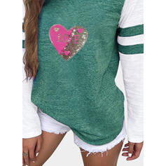 Print Sequins Figure Round Neck Long Sleeves Casual T-shirts
