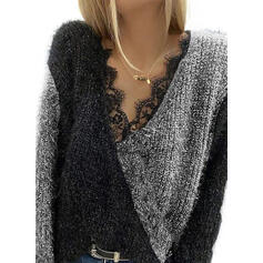 Color Block Lace V-Neck Casual Sweaters