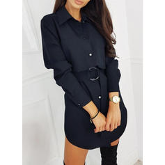Solid Long Sleeves Sheath Above Knee Little Black/Casual/Elegant Dresses