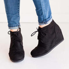 Women's Suede Wedge Heel Ankle Boots With Lace-up shoes