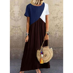 Color Block Short Sleeves Shift Casual/Vacation Maxi Dresses