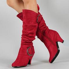 Femmes Suède Talon stiletto Bout fermé Bottes Bottes hautes avec Boucle chaussures