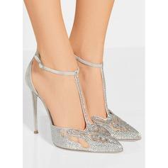 Women's Suede Stiletto Heel Closed Toe Pumps With Rhinestone