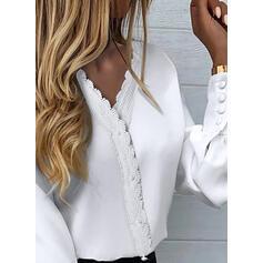 Solid Lace V-Neck Lantern Sleeve Long Sleeves Elegant Blouses