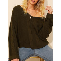 Solid Cable-knit Chunky knit V-Neck Loose Sexy Sweaters
