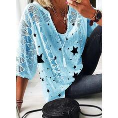 Print V-hals 3/4 Mouwen Casual Overhemd