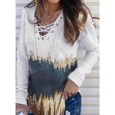 Print Forest V-Neck Long Sleeves Casual Blouses