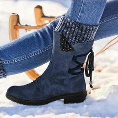 Dla kobiet Zamsz Niski Obcas Kozaki Kozaki do polowy lydki Z Sznurowanie obuwie