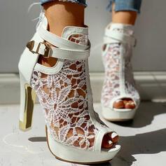 Femmes Mesh Talon stiletto Escarpins À bout ouvert avec Bowknot Ouvertes chaussures