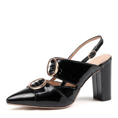 Women's Patent Leather Chunky Heel Pumps Slingbacks shoes